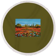 Red Field Round Beach Towel