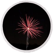 Red Fireworks Round Beach Towel