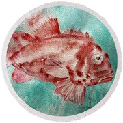 Red Fish Round Beach Towel