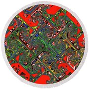 Red Five Wave Abstract Round Beach Towel