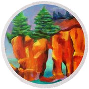Red Fjord Round Beach Towel