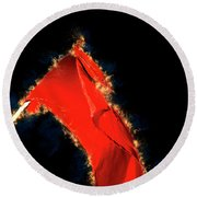 Red Flag On Black Background Round Beach Towel