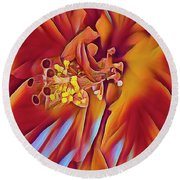 Red Flame Hibiscus Round Beach Towel