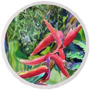 Red Flame Round Beach Towel