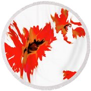 Red Floating Florals Round Beach Towel