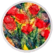 Red Floral Abstract Round Beach Towel