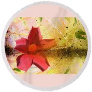 Red Floral Grunge Round Beach Towel