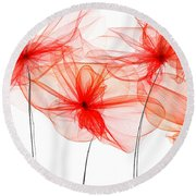 Red Floral - Red Modern Art Round Beach Towel