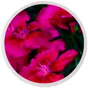 Red Floral Study Round Beach Towel by David Lane