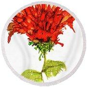 Red Flower 2 Round Beach Towel