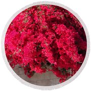 Red Flower Bushes Round Beach Towel
