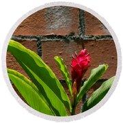 Red Flower Iv Round Beach Towel