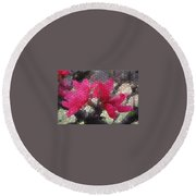Red Flowered Peach Round Beach Towel