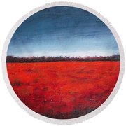 Red Flowering - Poppies Round Beach Towel