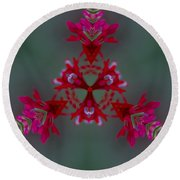 Red Flowers Abstract Round Beach Towel