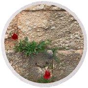Red Flowers In Ruins Round Beach Towel