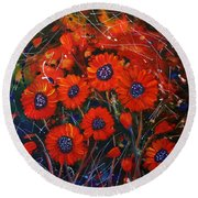 Red Flowers In The Night Round Beach Towel