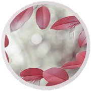 Red Foliage. Silver Light Round Beach Towel