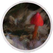 Red Forest Mushroom Round Beach Towel