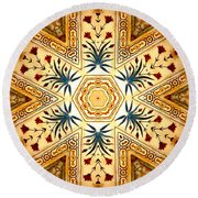 Red Fort Mosaic Round Beach Towel