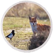 Red Fox And Magpie Round Beach Towel