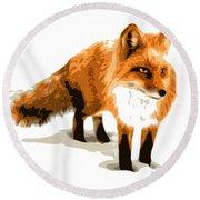 Red Fox In Winter Round Beach Towel