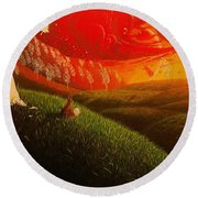 Red Fox..peaceful Round Beach Towel