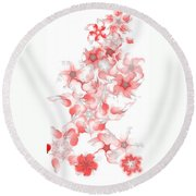 Red Fractal Floral Pattern Round Beach Towel