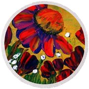 Red Garden Round Beach Towel
