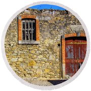 Red Gate, Stone Wall Round Beach Towel