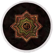 Red Gemstone And Gold  Star Of Lakshmi -  And Sri Round Beach Towel