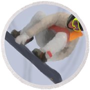 Red Gerard Snowboarding Gold Round Beach Towel