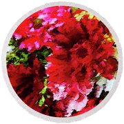 Red Gerbera Daisy Abstract Round Beach Towel