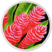 Red Ginger Flowers #235 Round Beach Towel