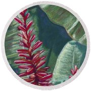 Red Ginger Round Beach Towel