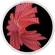 Red Glass Abstract Round Beach Towel