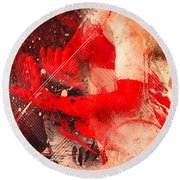 Red Gloves Round Beach Towel by Svetlana Sewell