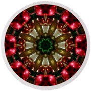 Red Gold Green Kaleidoscope 1 Round Beach Towel