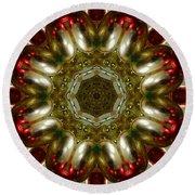 Red Gold Kaleidoscope 1 Round Beach Towel