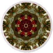 Red Gold Kaleidoscope 2 Round Beach Towel