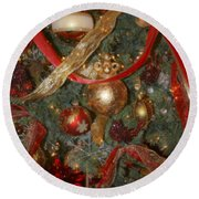 Red Gold Tree No 2 Fashions For Evergreens Event Hotel Roanoke 2009 Round Beach Towel