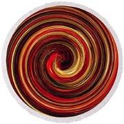 Have A Closer Look. Red-golden Spiral Art Round Beach Towel