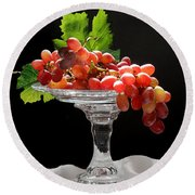 Red Grapes On Glass Dish Round Beach Towel