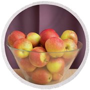 Red Green Apples In A Glass Bowl Round Beach Towel