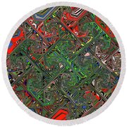 Red Green Blue Compressed Round Beach Towel
