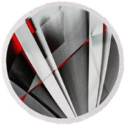 Red-grey Abstractum Round Beach Towel