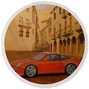 Red Gt3 Porsche Round Beach Towel