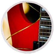 Red Guitar Round Beach Towel by Hakon Soreide