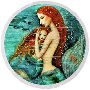 Red Hair Mermaid Mother And Child Round Beach Towel