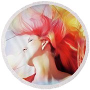 Red Hair With Bubbles Round Beach Towel